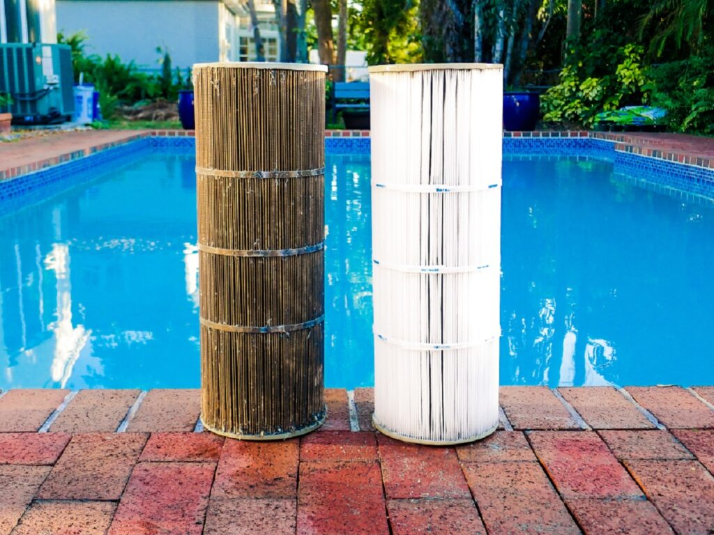 clean and dirty twin pool cartridge filters